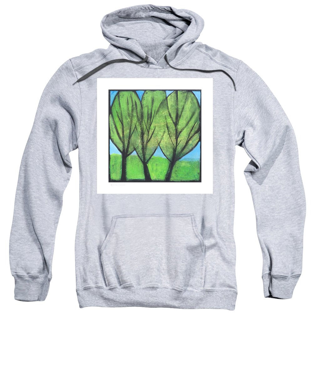 Trees Sweatshirt featuring the painting Three Sisters by Tim Nyberg