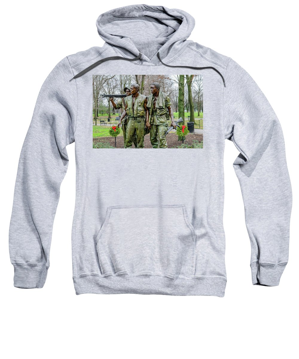African Sweatshirt featuring the photograph Three Soldiers Memorial by Cityscape Photography
