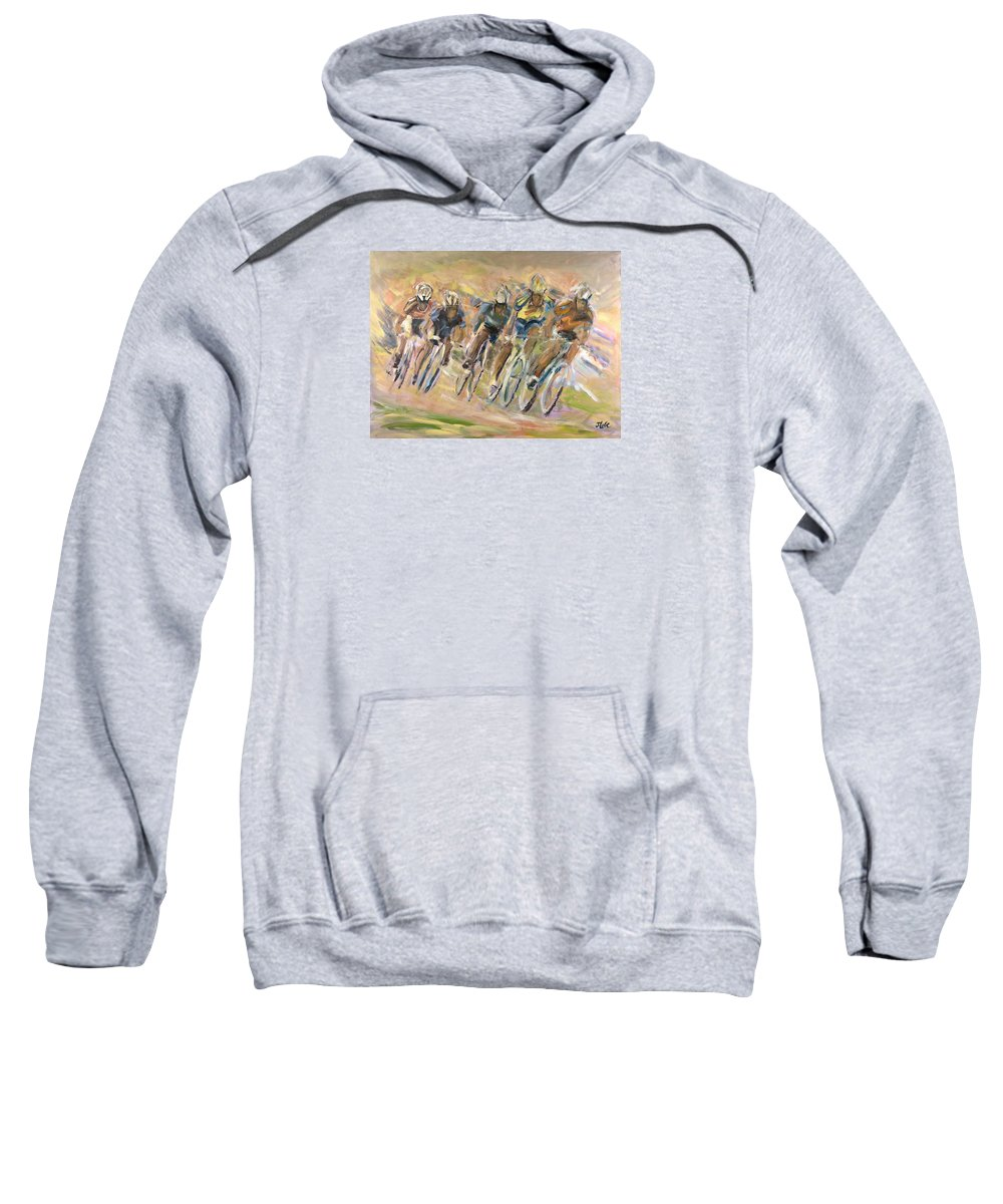Cyclists Sweatshirt featuring the painting Thrill Of The Chase by Jude Lobe