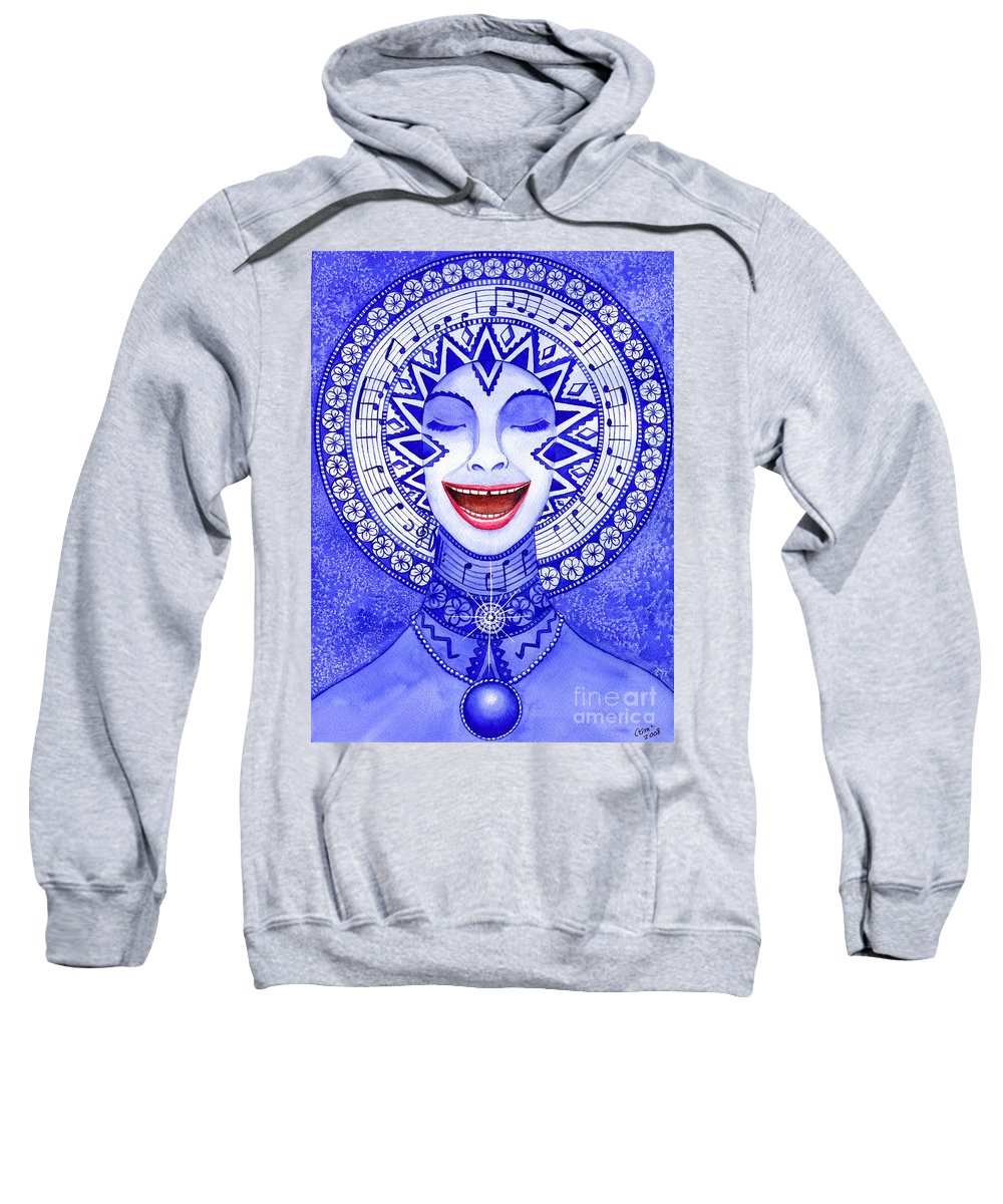 Chakra Sweatshirt featuring the painting Throat Chakra by Catherine G McElroy