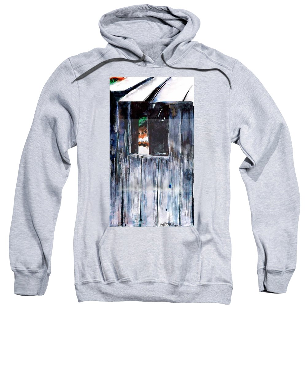 An Old Mysterious Barn With Deep Dark Shadows And Secrets. Rustic And Moody. Sweatshirt featuring the drawing Thru The Barn Window by Seth Weaver