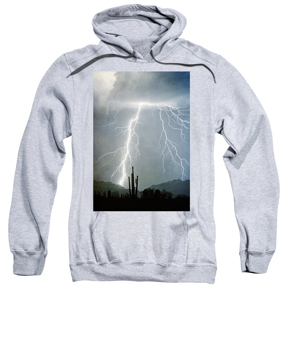 Lightning Sweatshirt featuring the photograph Thunderbolts From The Heavens Above by James BO Insogna