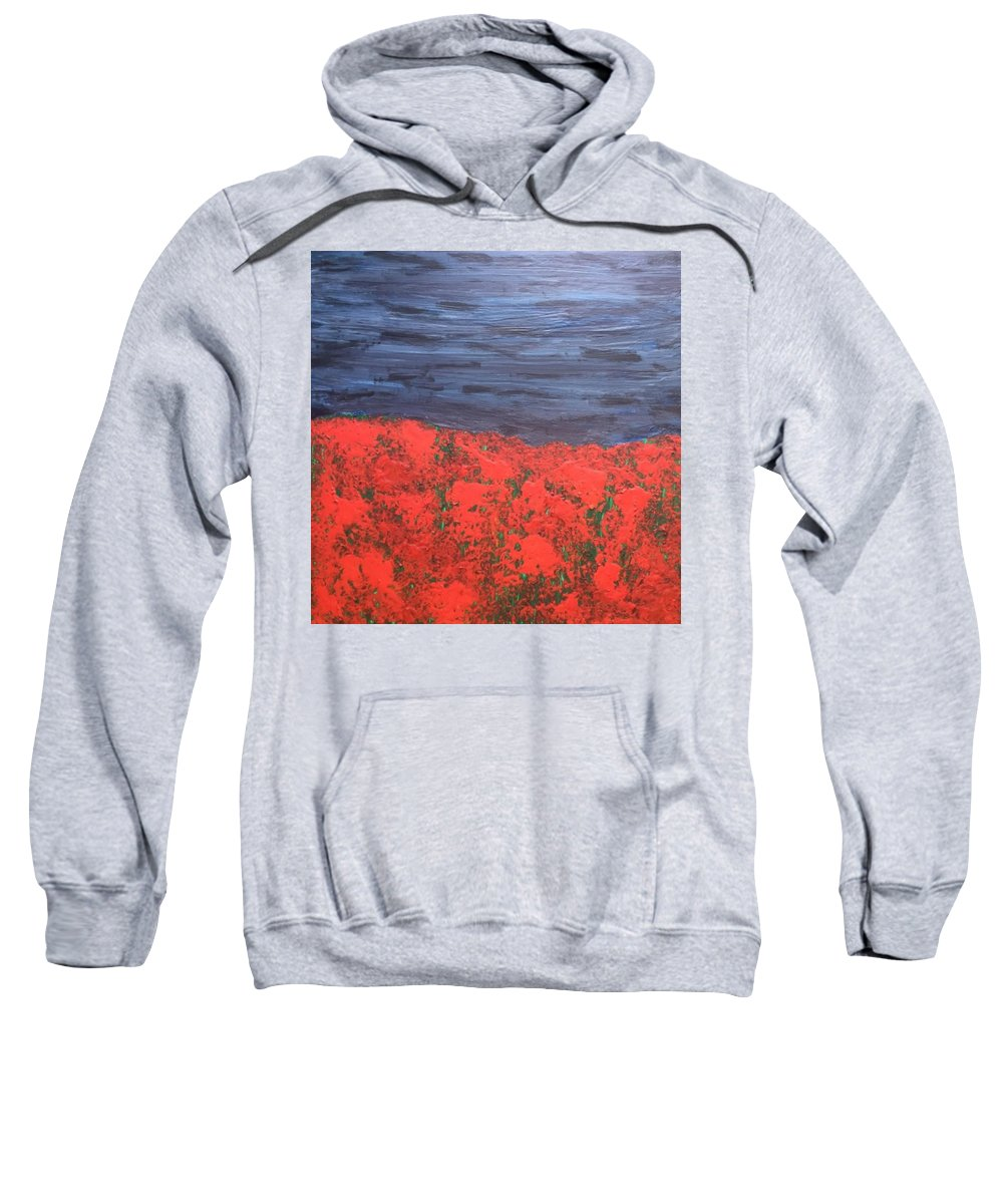 Thunderstorm Sweatshirt featuring the painting Thunderstorm Over The Poppy Field by Gi Art