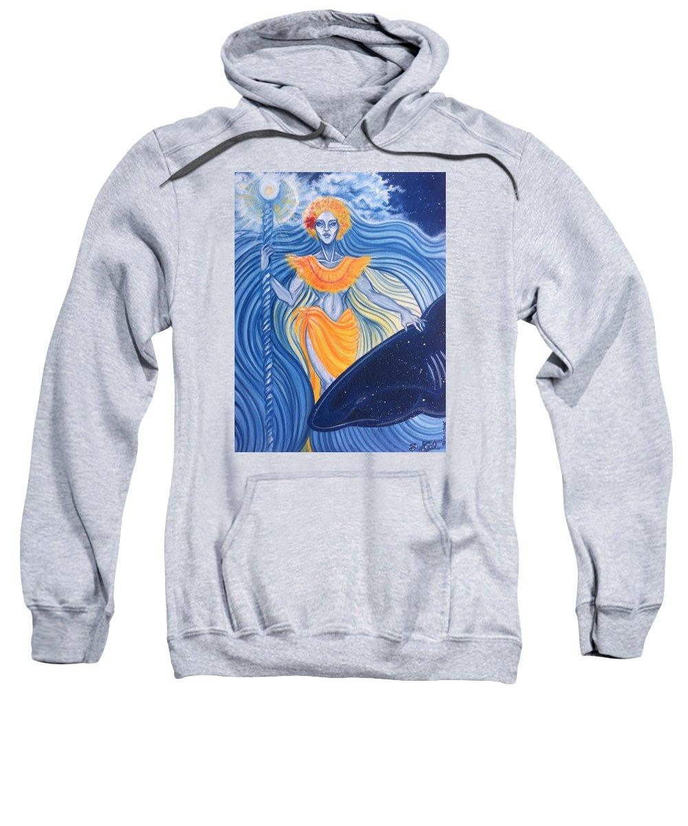 Tahiti Sweatshirt featuring the painting Tiavai by Sandra Gellato