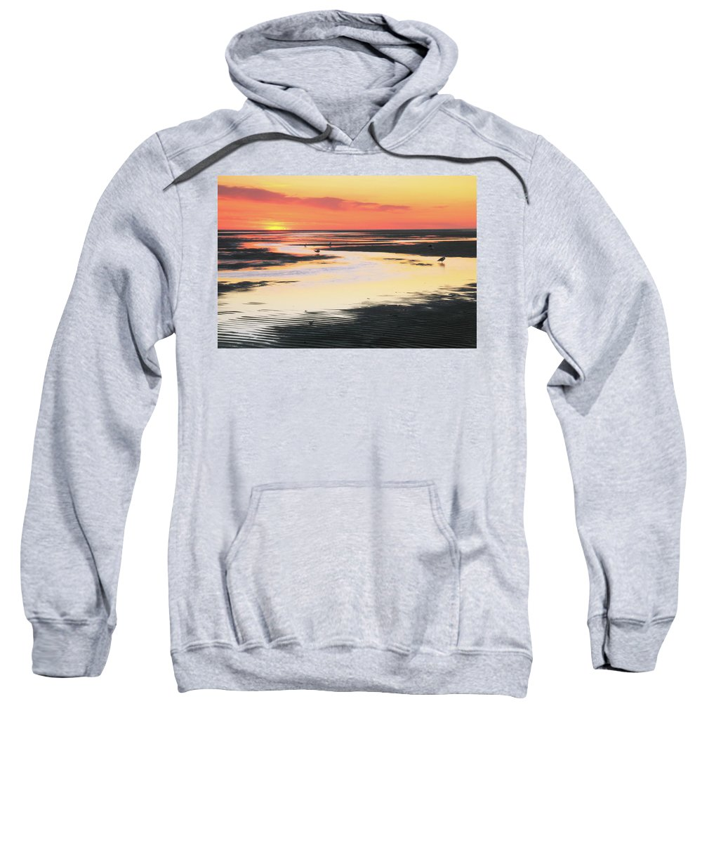 Sunset Sweatshirt featuring the photograph Tidal Flats At Sunset by Roupen Baker
