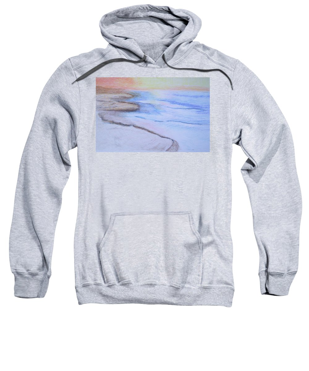 Landscape Sweatshirt featuring the drawing Tide Is Out by Suzanne Udell Levinger