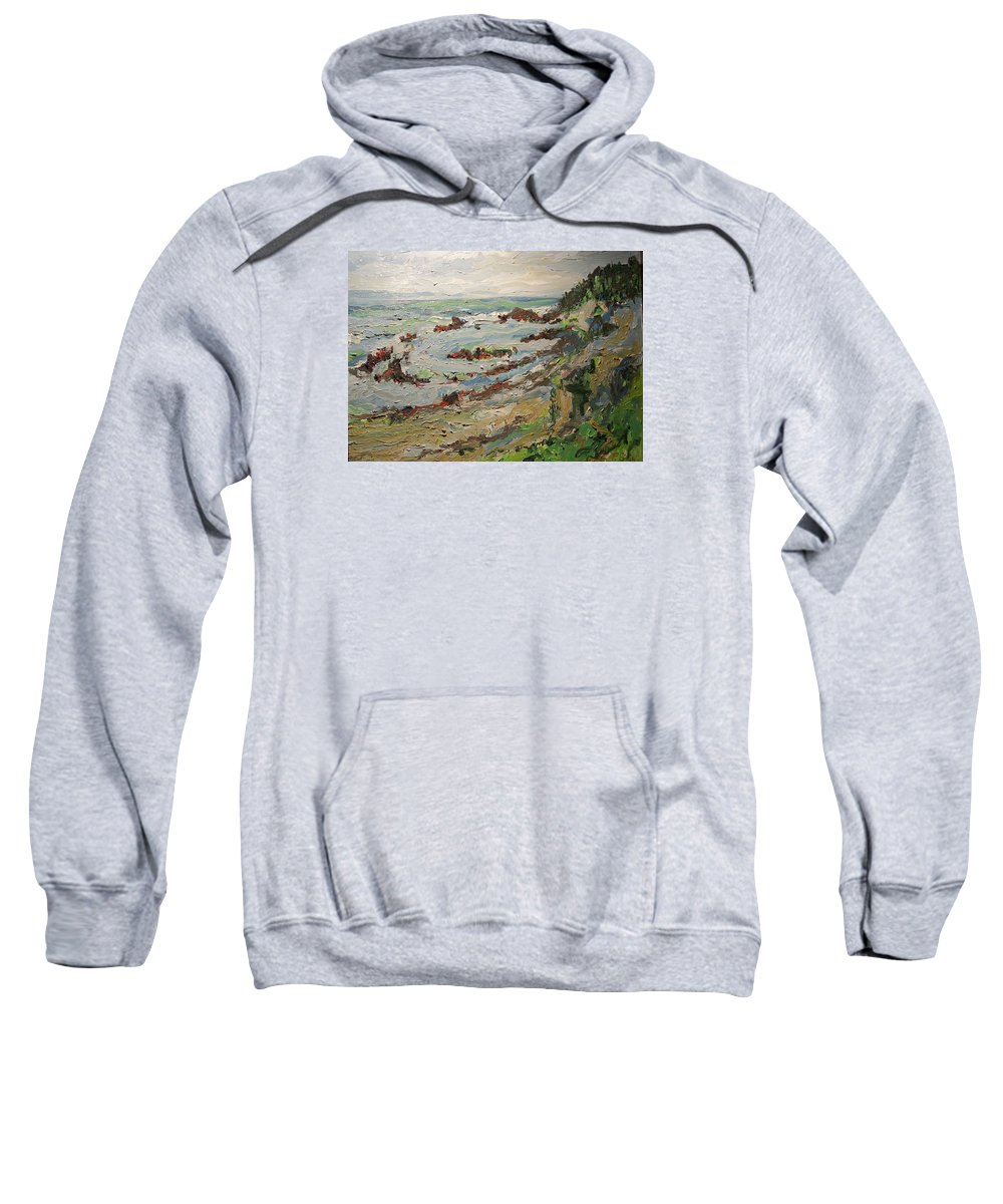 Landscape By The Pacific Ocean Sweatshirt featuring the painting Tide Pools At Princeton by Pat Gray