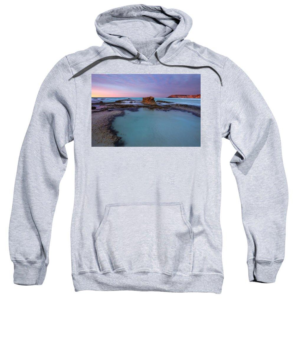 Seascape Tidepools Sweatshirt featuring the photograph Tidepool Dawn by Mike Dawson