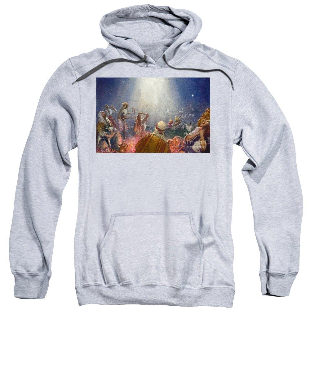 Flock; Star; David; Bethlehem; Night; Jesus; Christ; Nativity; Birth; Wonder; Light; Happiness; Sheep; Lamb; Camp; Tidings Of Great Joy Sweatshirt featuring the painting Tidings Of Great Joy by John Millar Watt