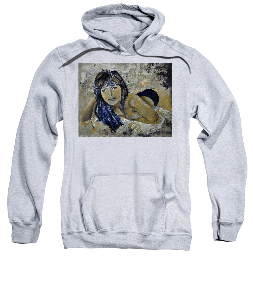Girl Sweatshirt featuring the painting Tiffany 45 by Pol Ledent