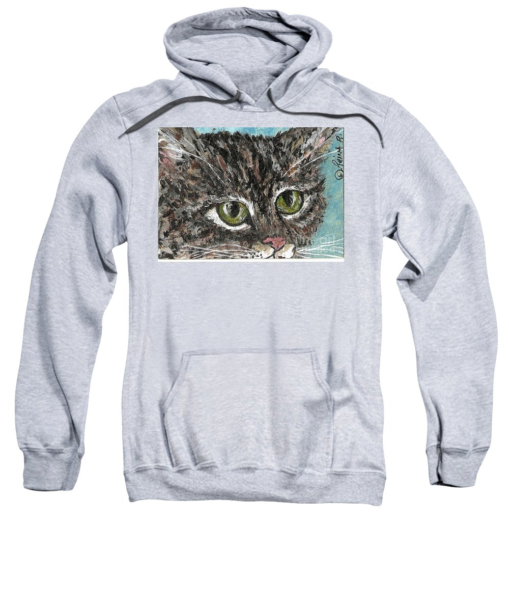 Cats Sweatshirt featuring the painting Tiger Cat by Reina Resto