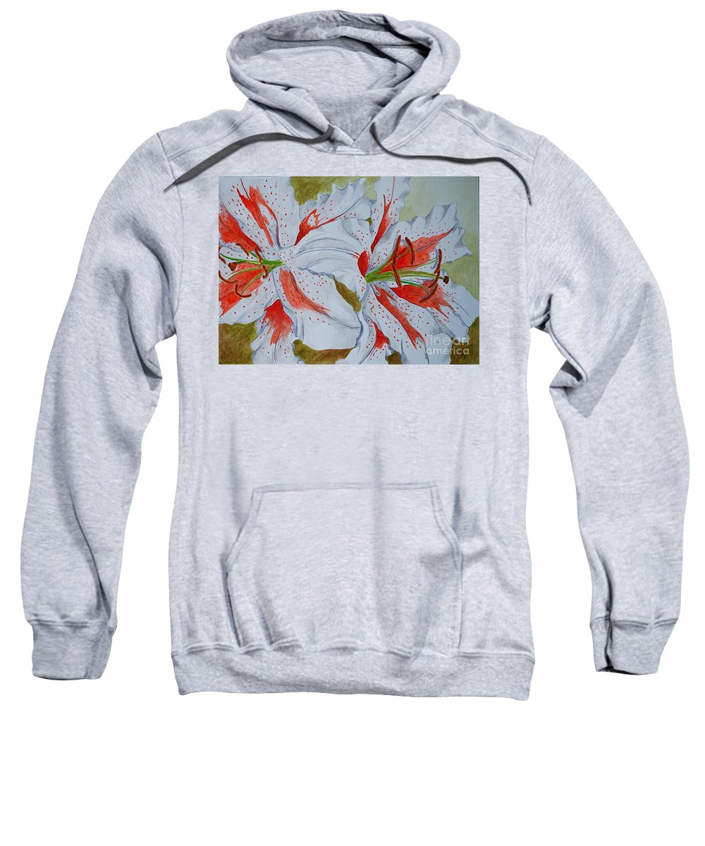 Lilly Red Lilly Tiger Lilly Sweatshirt featuring the painting Tiger Lilly by Herschel Fall