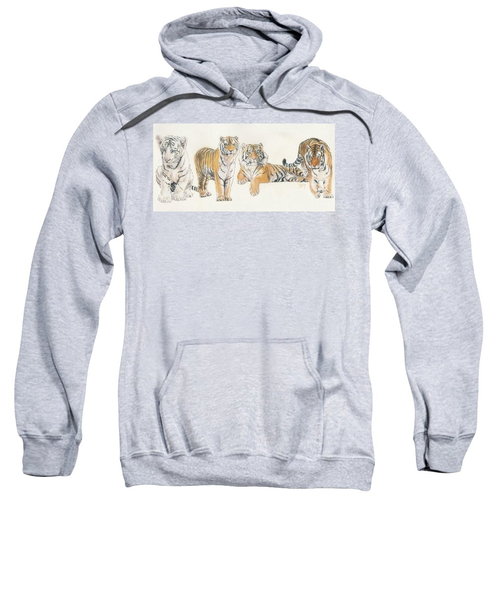 Tiger Sweatshirt featuring the mixed media Tiger Wrap by Barbara Keith