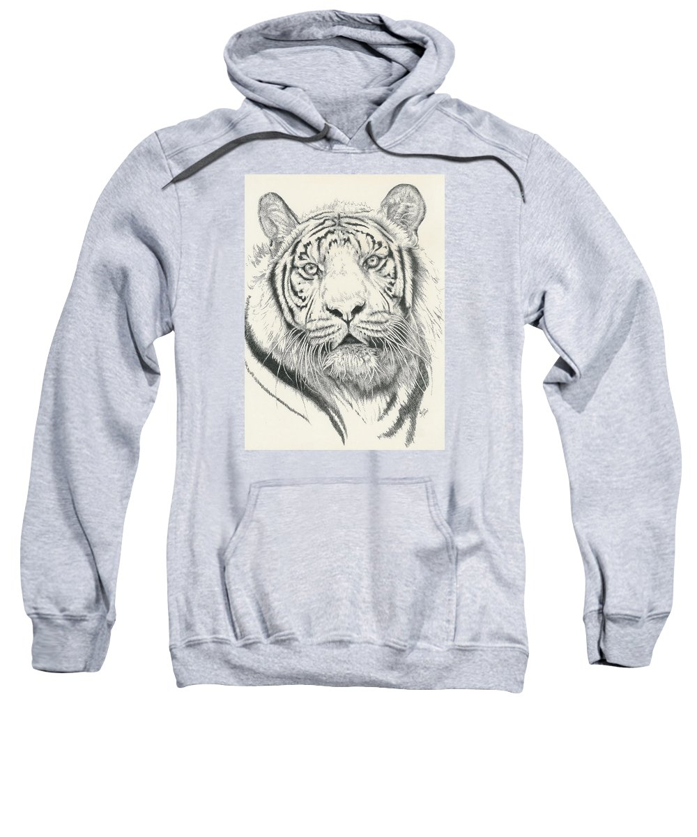 Tiger Sweatshirt featuring the drawing Tigerlily by Barbara Keith