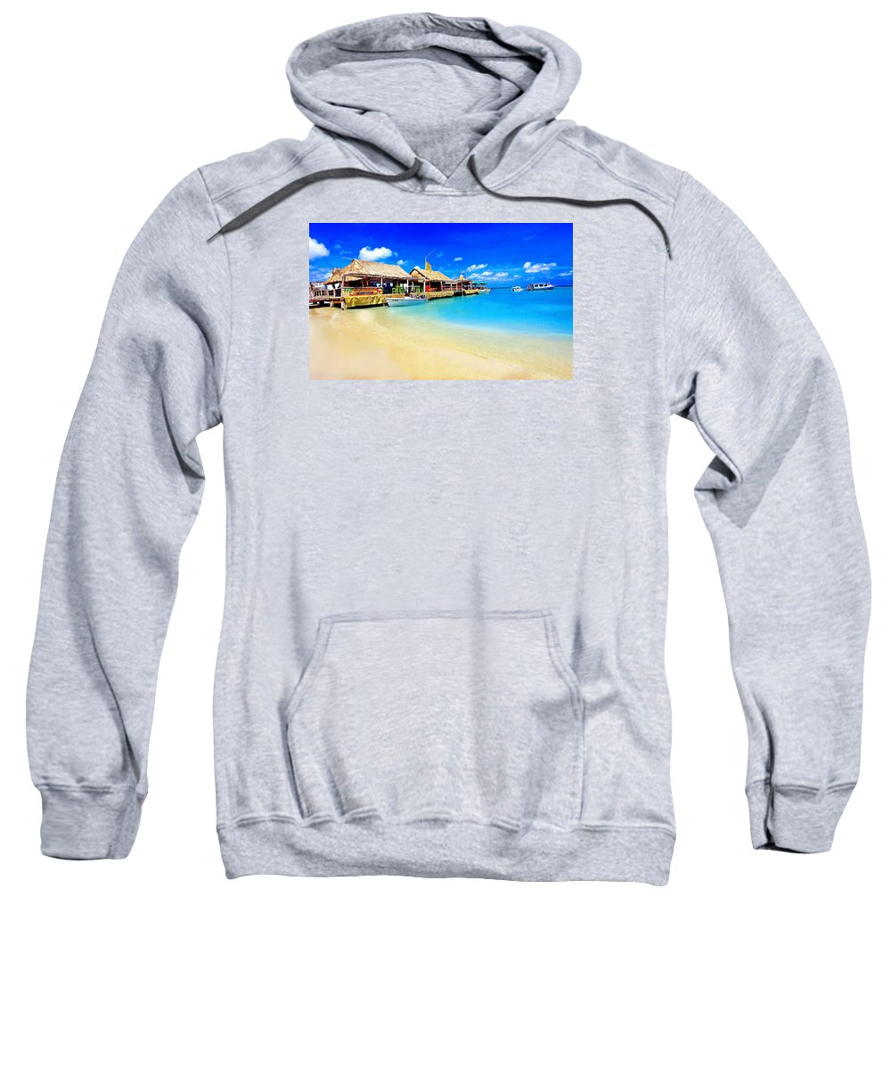 Aruba Sweatshirt featuring the photograph Tiki Bar In Aruba by Larry Mccrea