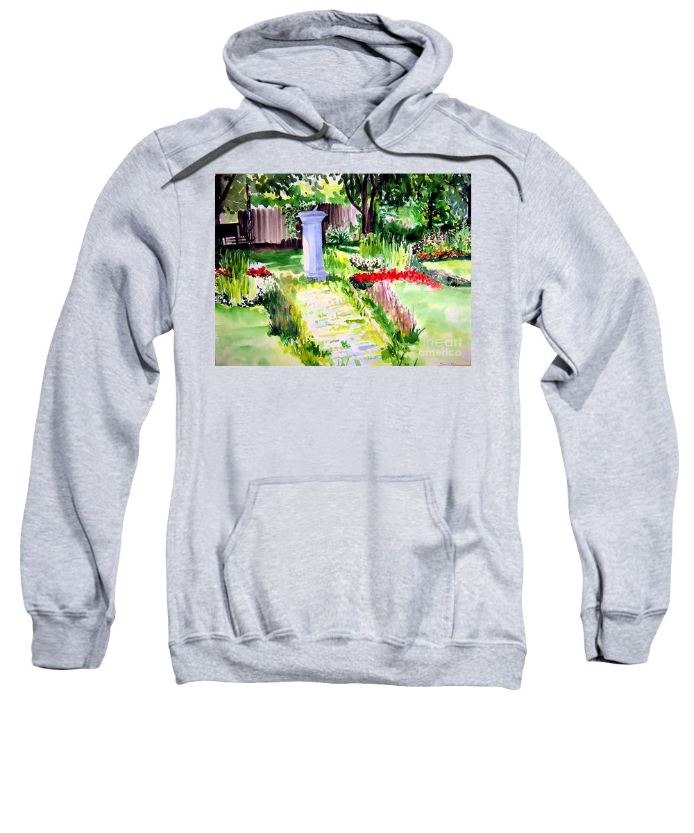 Park Sweatshirt featuring the painting Time In A Garden by Sandy Ryan