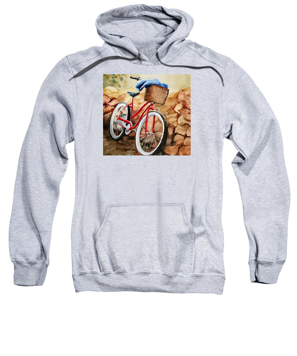 Bicycle Sweatshirt featuring the painting Time Out by Karen Stark