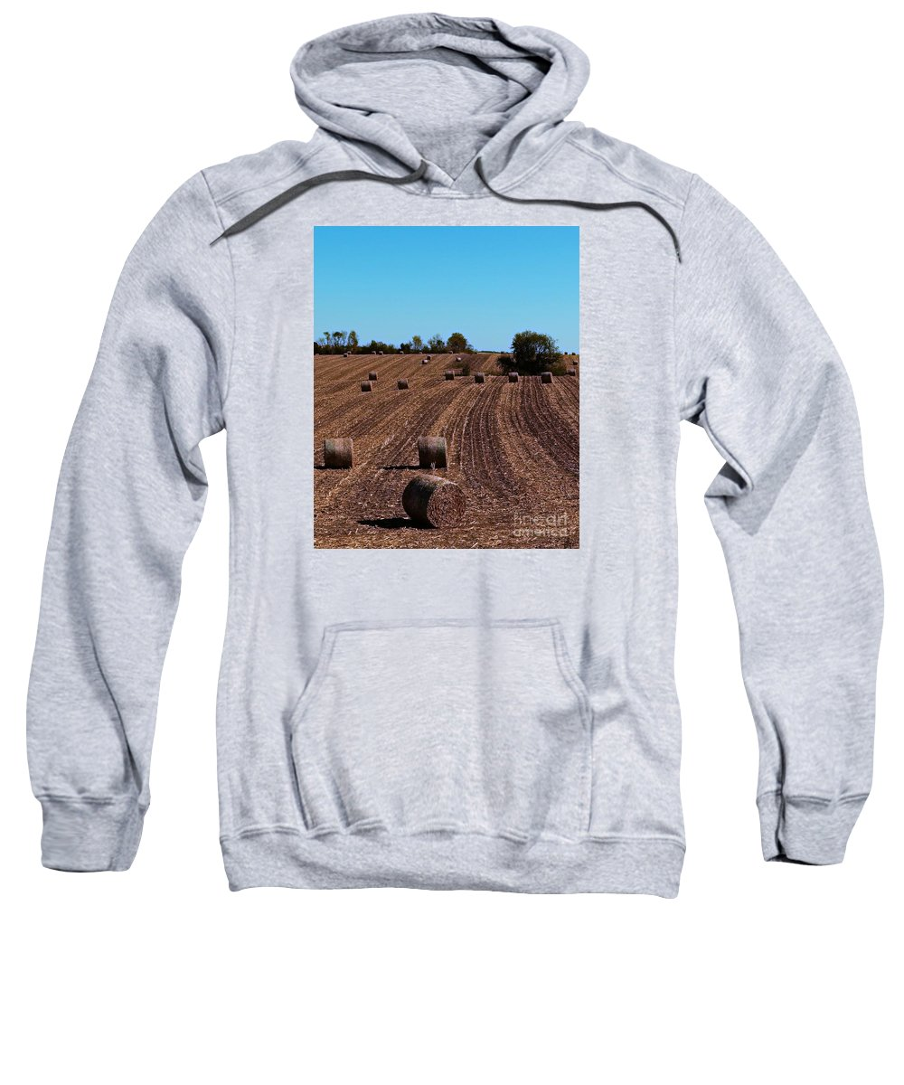 Hay Bales Sweatshirt featuring the photograph Time To Bale In Color by Teresa Hayes