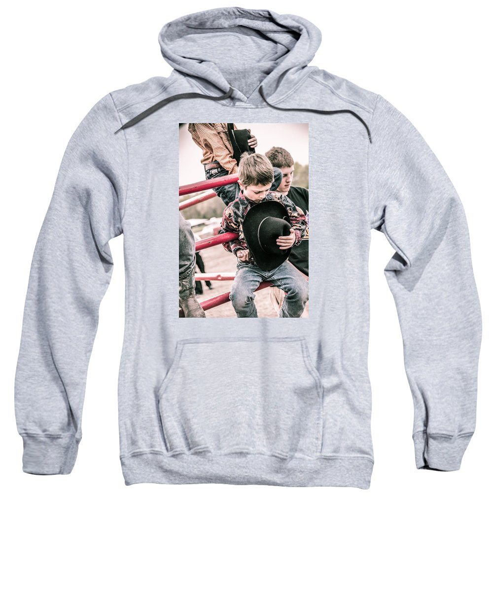 Orange & Blue Rodeo Sweatshirt featuring the photograph Time To Honor by Terry Brown
