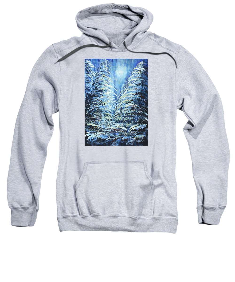 Forest Sweatshirt featuring the painting Tim's Winter Forest by Holly Carmichael