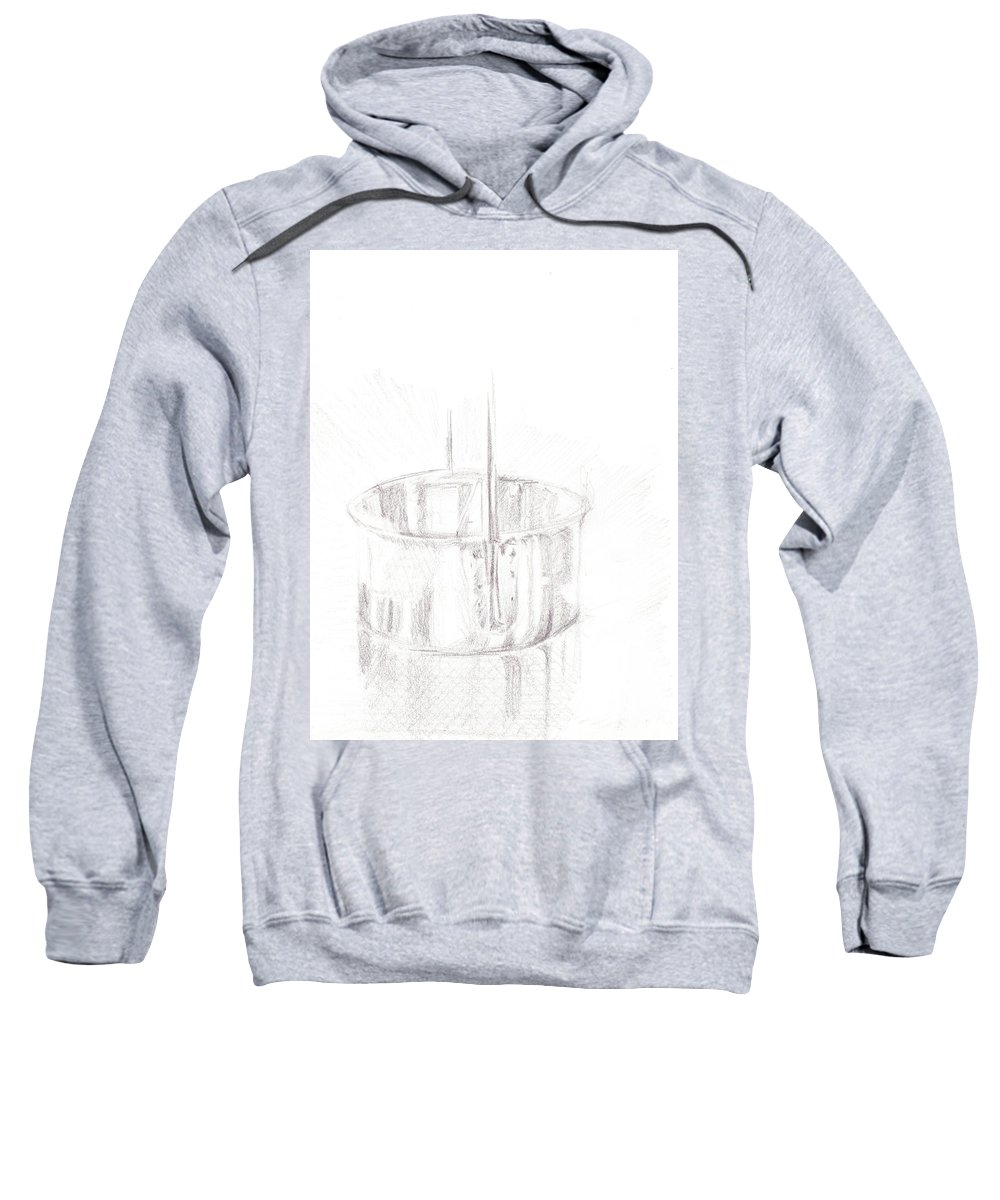 Sketch Sweatshirt featuring the drawing Tin Cup by James Ath