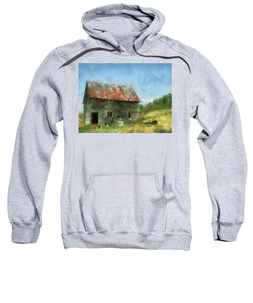 Landscape Sweatshirt featuring the digital art Tin Roof by Sobano S