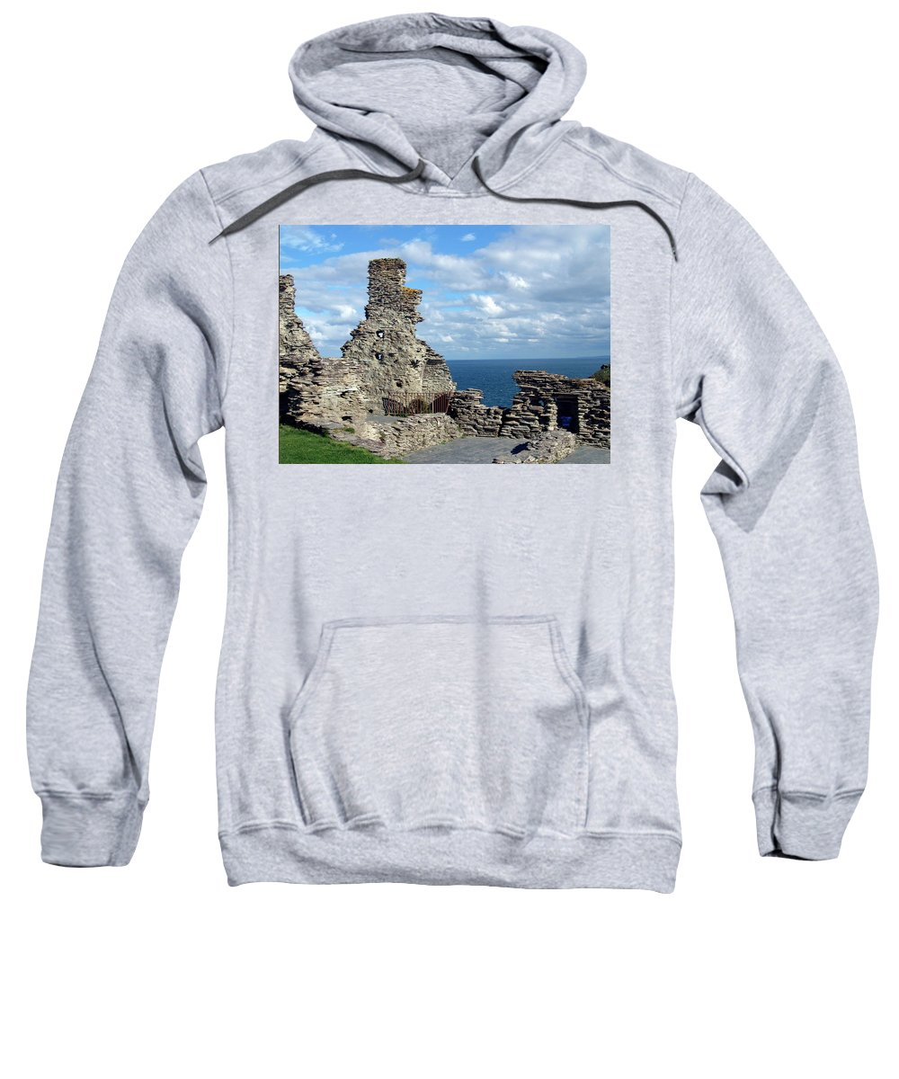 Tintagel Sweatshirt featuring the photograph Tintagel Castle 1 by Kurt Van Wagner