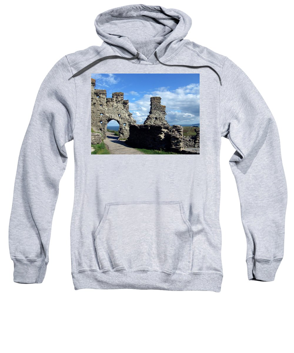 Tintagel Sweatshirt featuring the photograph Tintagel Castle 2 by Kurt Van Wagner