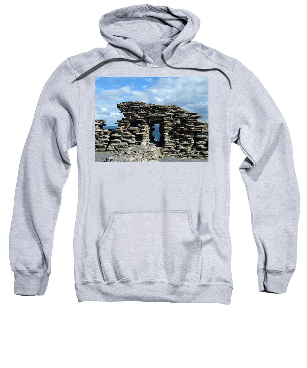 Tintagel Sweatshirt featuring the photograph Tintagel Castle 3 by Kurt Van Wagner