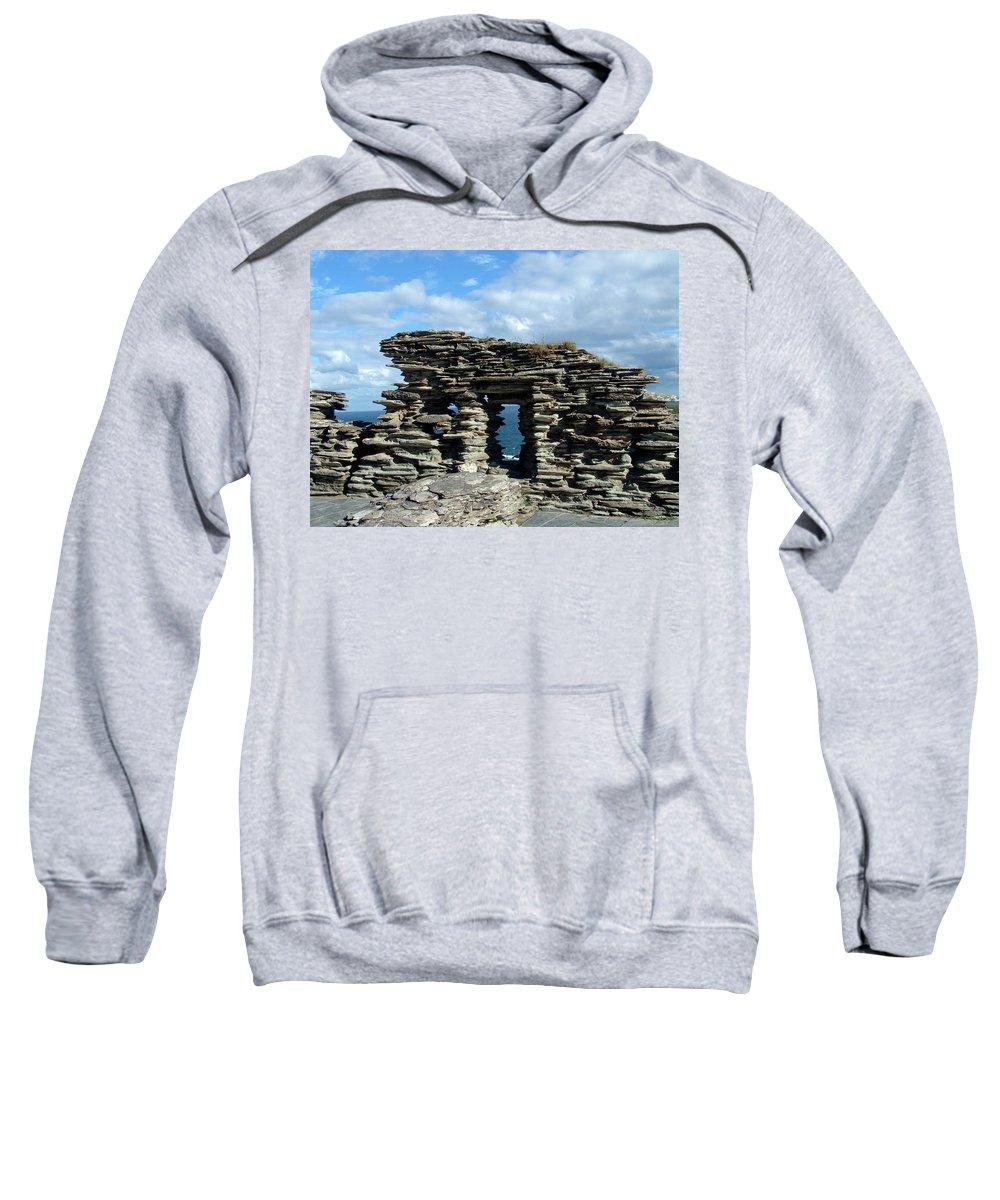 Tintagel Sweatshirt featuring the photograph Tintagel Castle 3 by Kurt Van Wagner