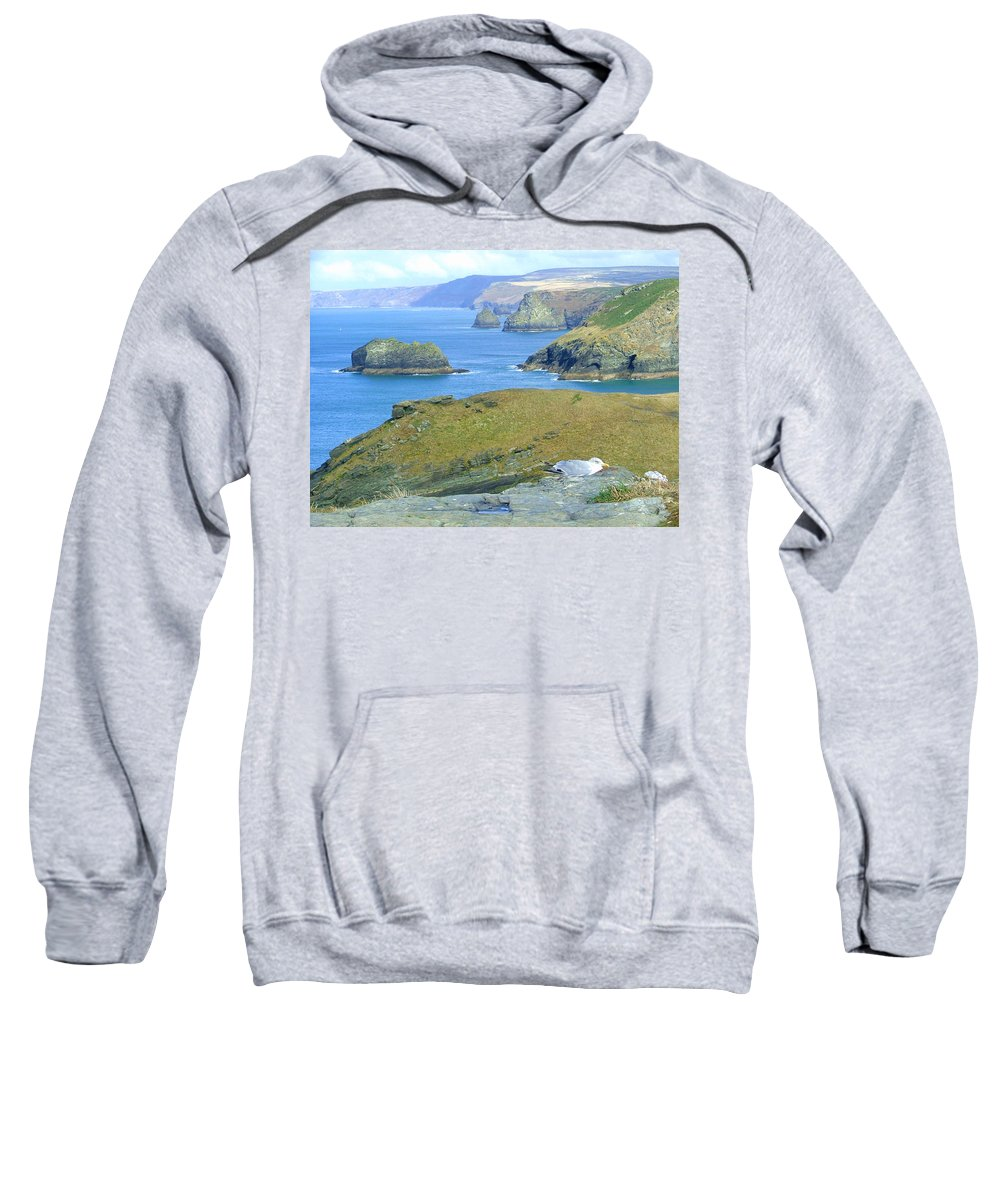 Cornwall Sweatshirt featuring the photograph Tintagel by Heather Lennox
