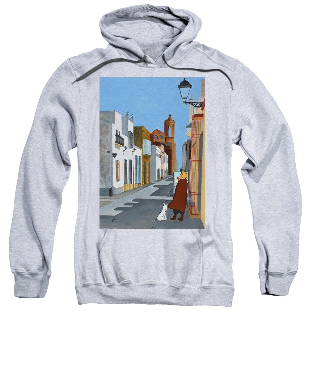 Tintin Sweatshirt featuring the painting Tintin En Puerto Real by Jose Maria Noble