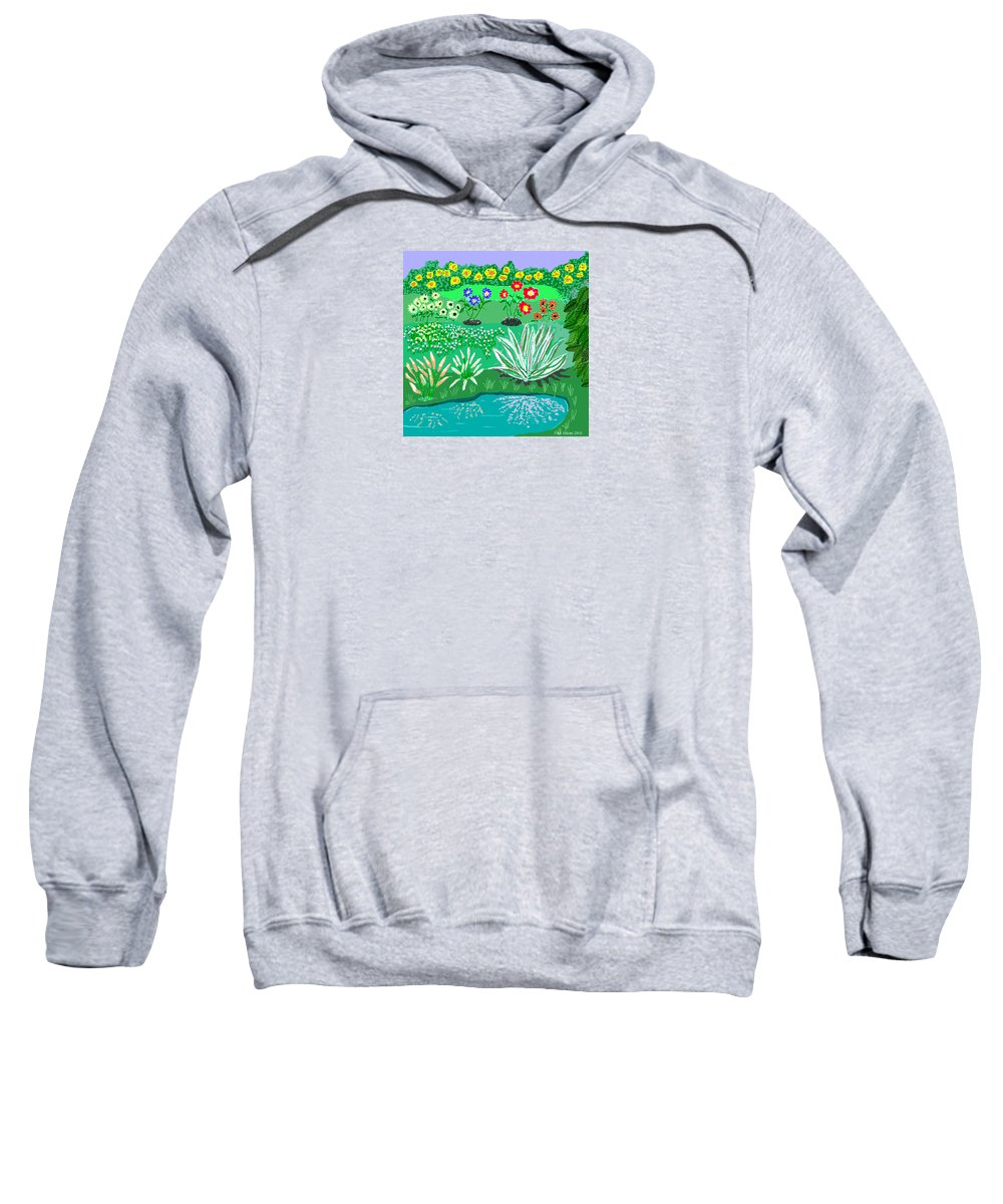 Floral Sweatshirt featuring the painting Tiny Garden by Fred Jinkins