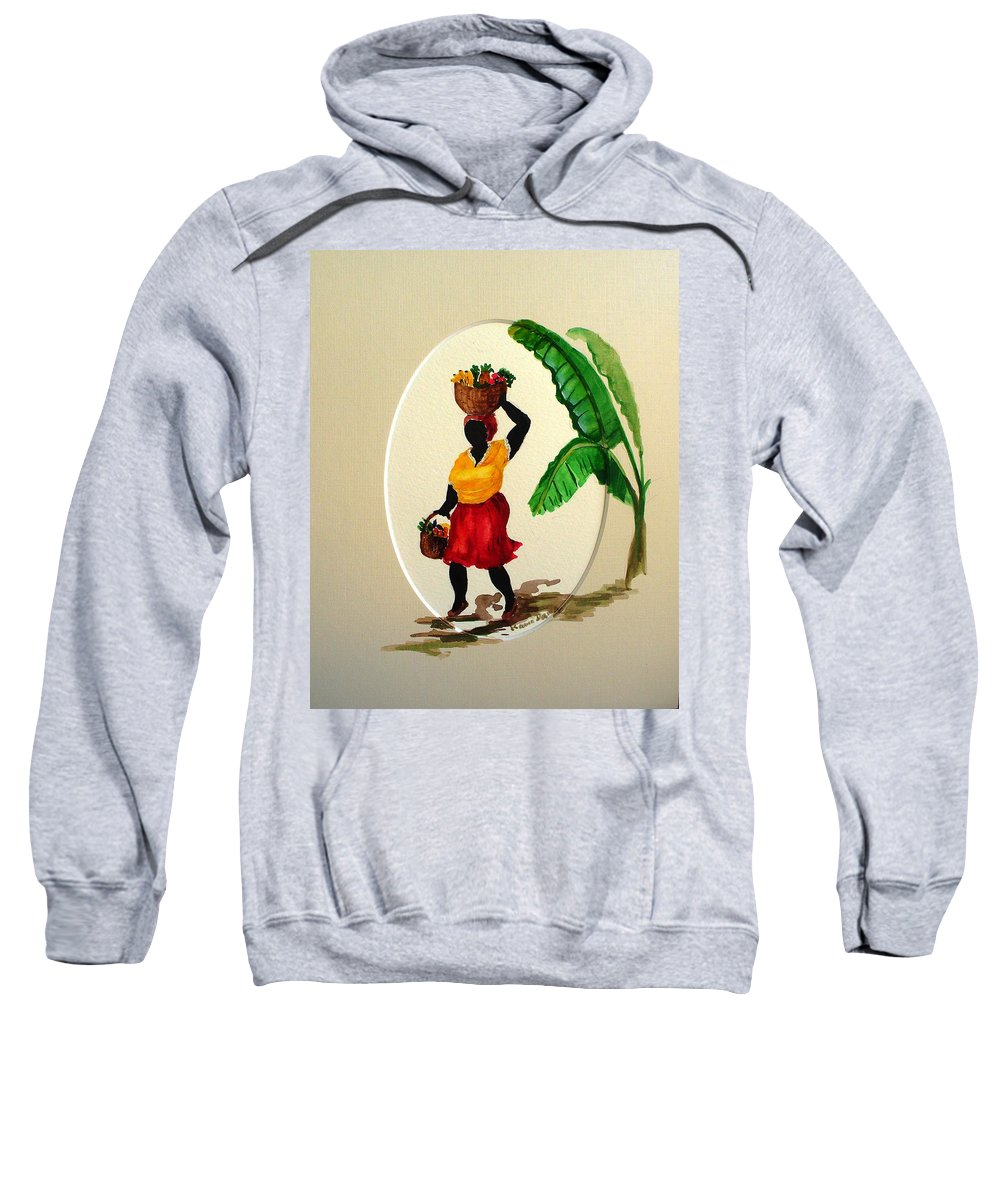 Caribbean Market Womanfruit & Veg Sweatshirt featuring the painting To Market by Karin Dawn Kelshall- Best