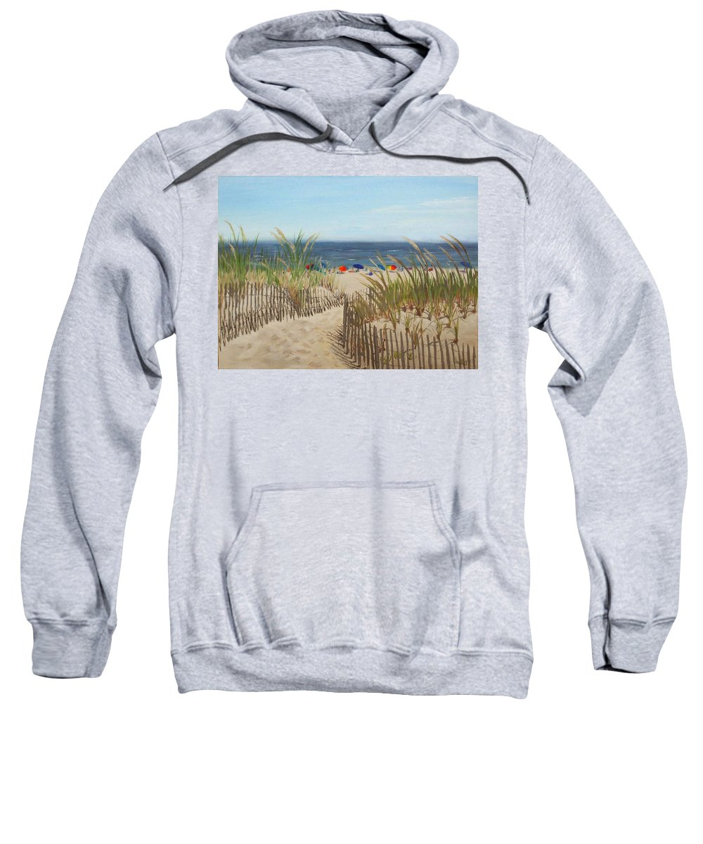 Beach Sweatshirt featuring the painting To The Beach by Lea Novak