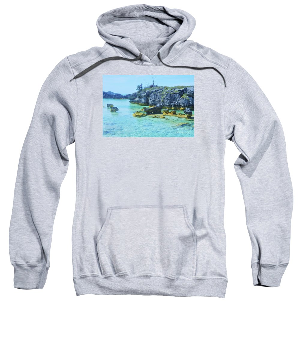 Art From Bermuda Seascape Tranquil Bay Blue Water Ancient Rocks Tobacco Bay Serene Setting Outdoors Travel Destination Relaxation Wood Print Canvas Print Metal Frame Poster Print Available On T Shirts Mugs Pouches Weekender Tote Bags Shower Curtains Beach Towels Tote Bags And Phone Cases Sweatshirt featuring the photograph Tobacco Bay, Bermuda # 4 by Marcus Dagan
