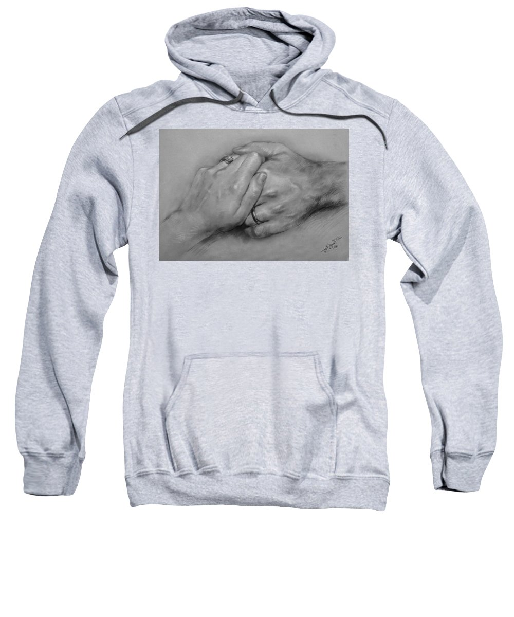 Fine Art Sweatshirt featuring the drawing Together For Ever by Ylli Haruni