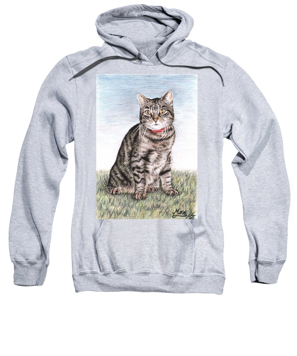 Cat Sweatshirt featuring the drawing Tomcat Max by Nicole Zeug