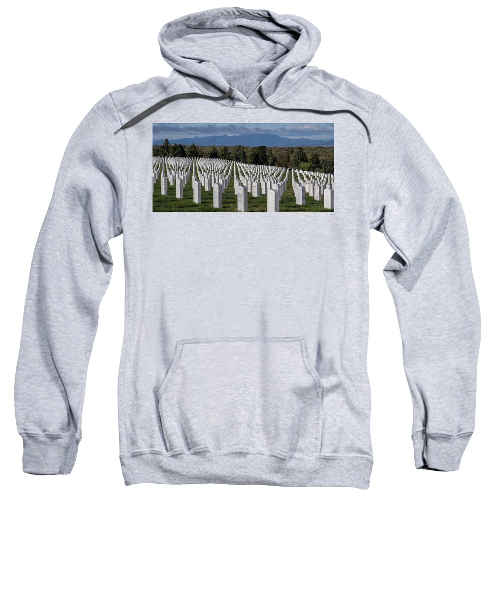 Adobe Home Sweatshirt featuring the photograph Too Many.. Veteran Cemetery, Santa Fe by Jack Zievis