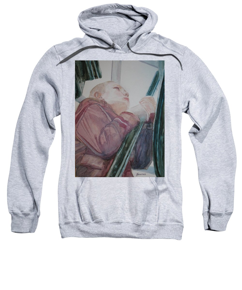 Boy Sweatshirt featuring the painting Top Of The Lighthouse Stairs by Jenny Armitage