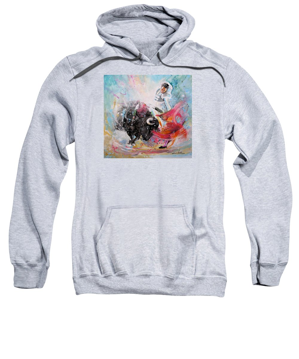 Animals Sweatshirt featuring the painting Toro Tempest by Miki De Goodaboom