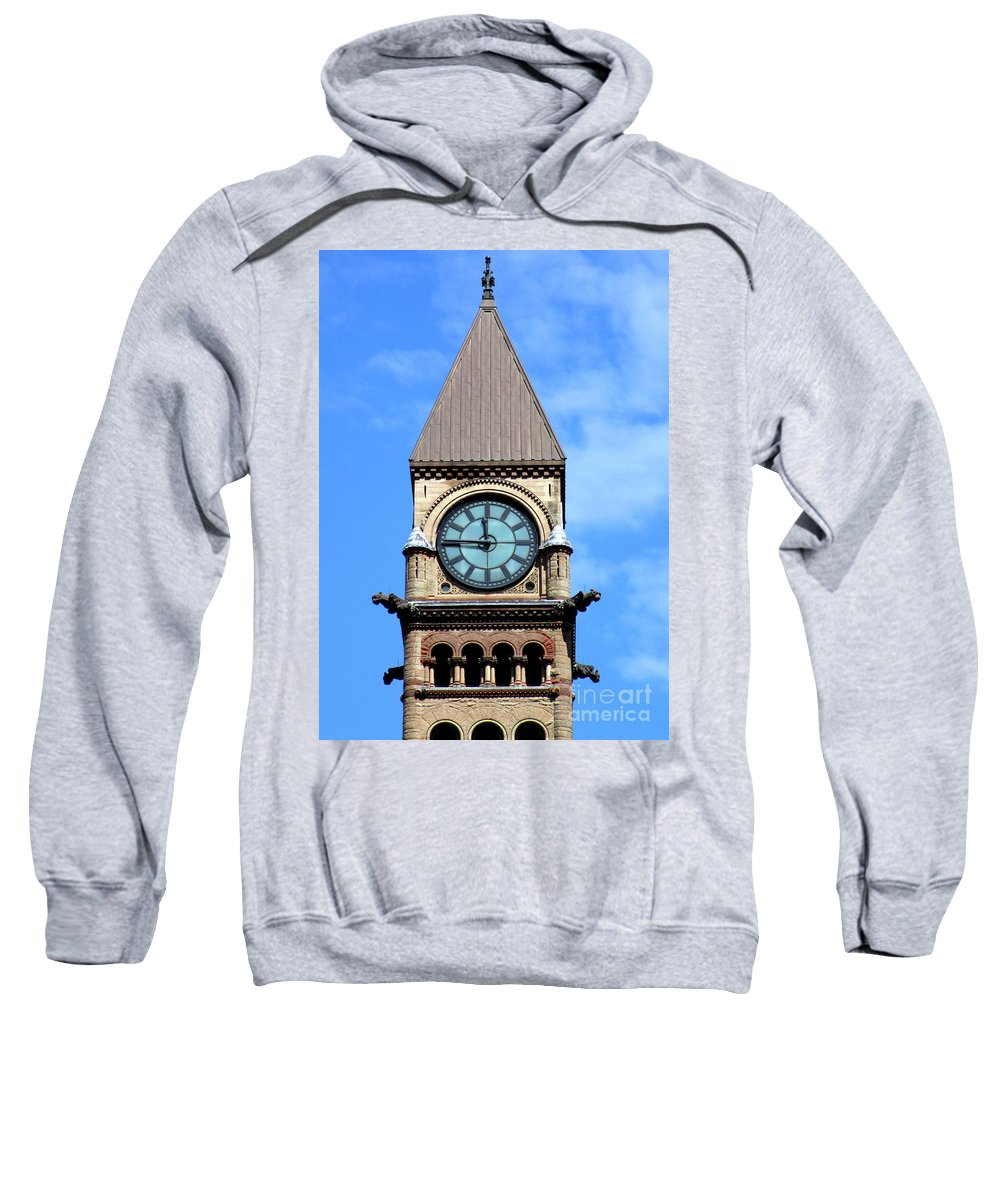 Front Street Sweatshirt featuring the photograph Toronto Clock Tower by Randall Weidner