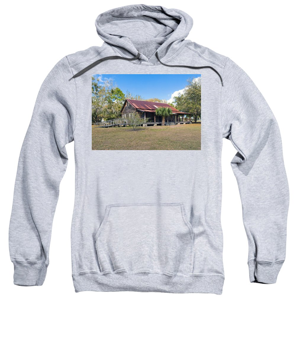 Florida; Ranch; Cattle; Central; Tosohatchee; Beehead; Beehive; Tree; Bee; Honey; Cracker; Cow; Cowb Sweatshirt featuring the photograph Tosohatchee Cattle Ranch In Central Florida by Allan Hughes