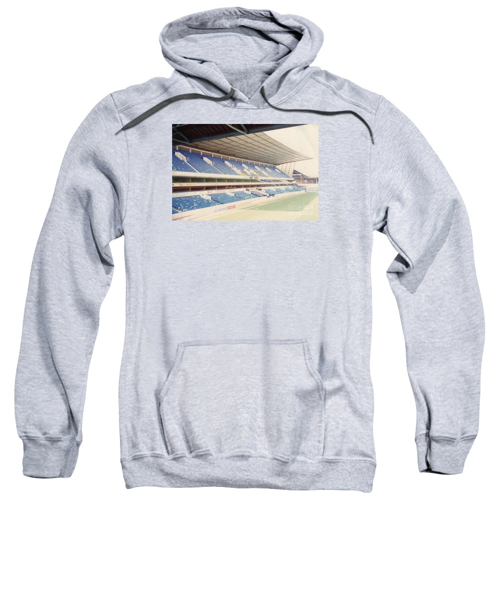 Sweatshirt featuring the photograph Tottenham - White Hart Lane - West Stand 4 - April 1991 by Legendary Football Grounds
