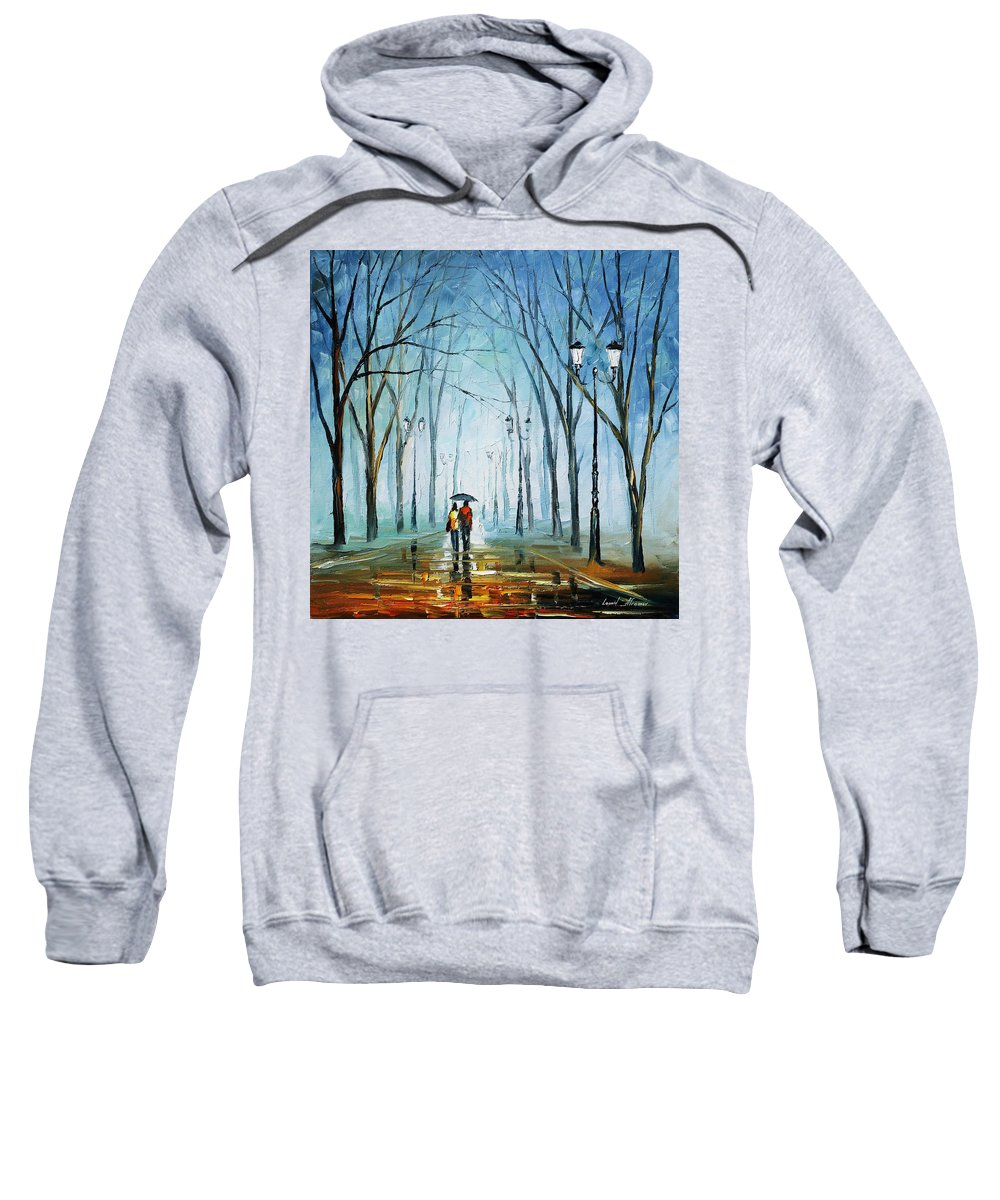 Afremov Sweatshirt featuring the painting Touching Fog by Leonid Afremov