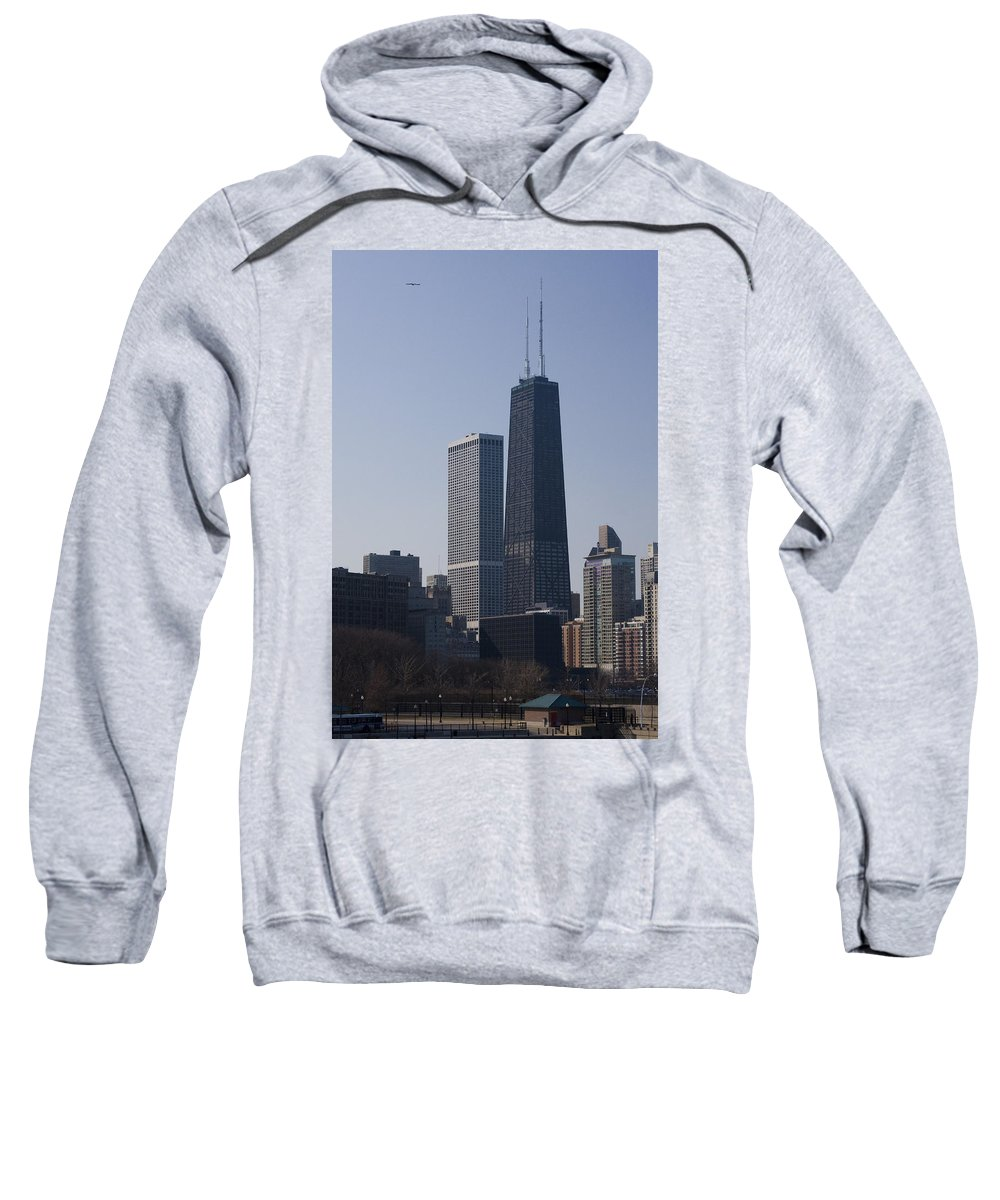 Chicago Windy City Skyscraper Building High Tall Big Blue Sky Urban Metro Sweatshirt featuring the photograph Touching The Sky by Andrei Shliakhau