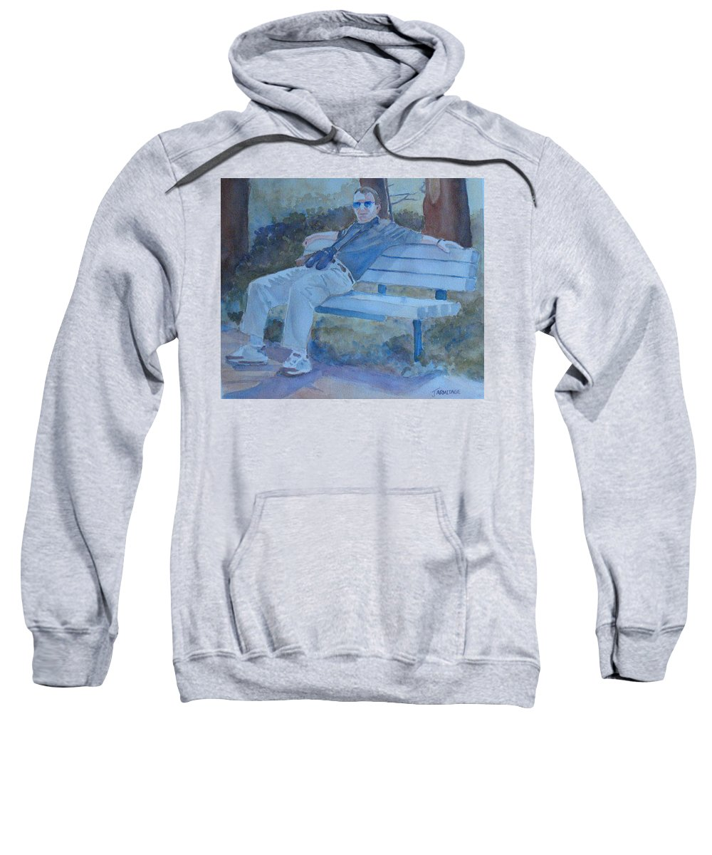 Tourists Sweatshirt featuring the painting Tourist At Rest by Jenny Armitage