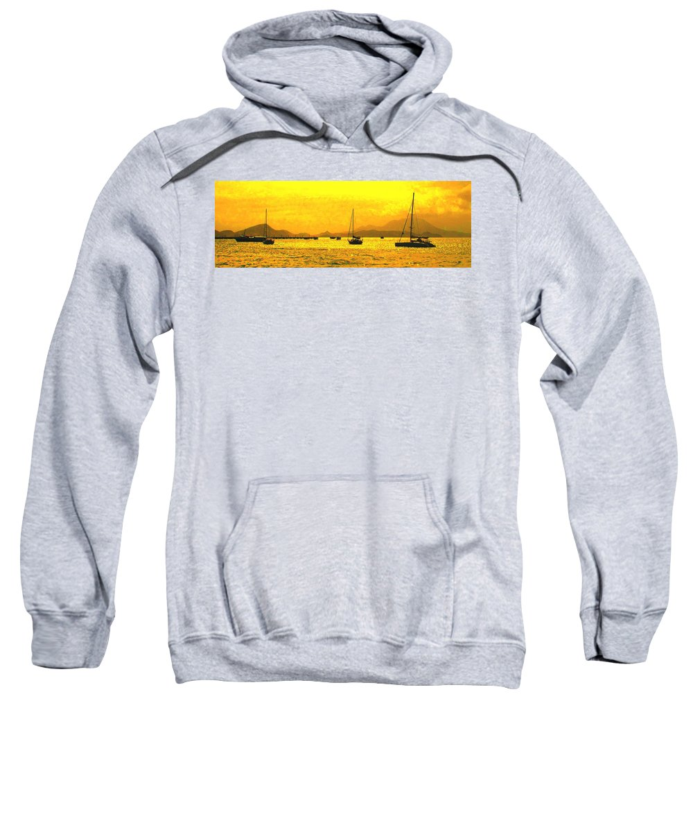 Basseterre Sweatshirt featuring the photograph Towards Nevis by Ian MacDonald