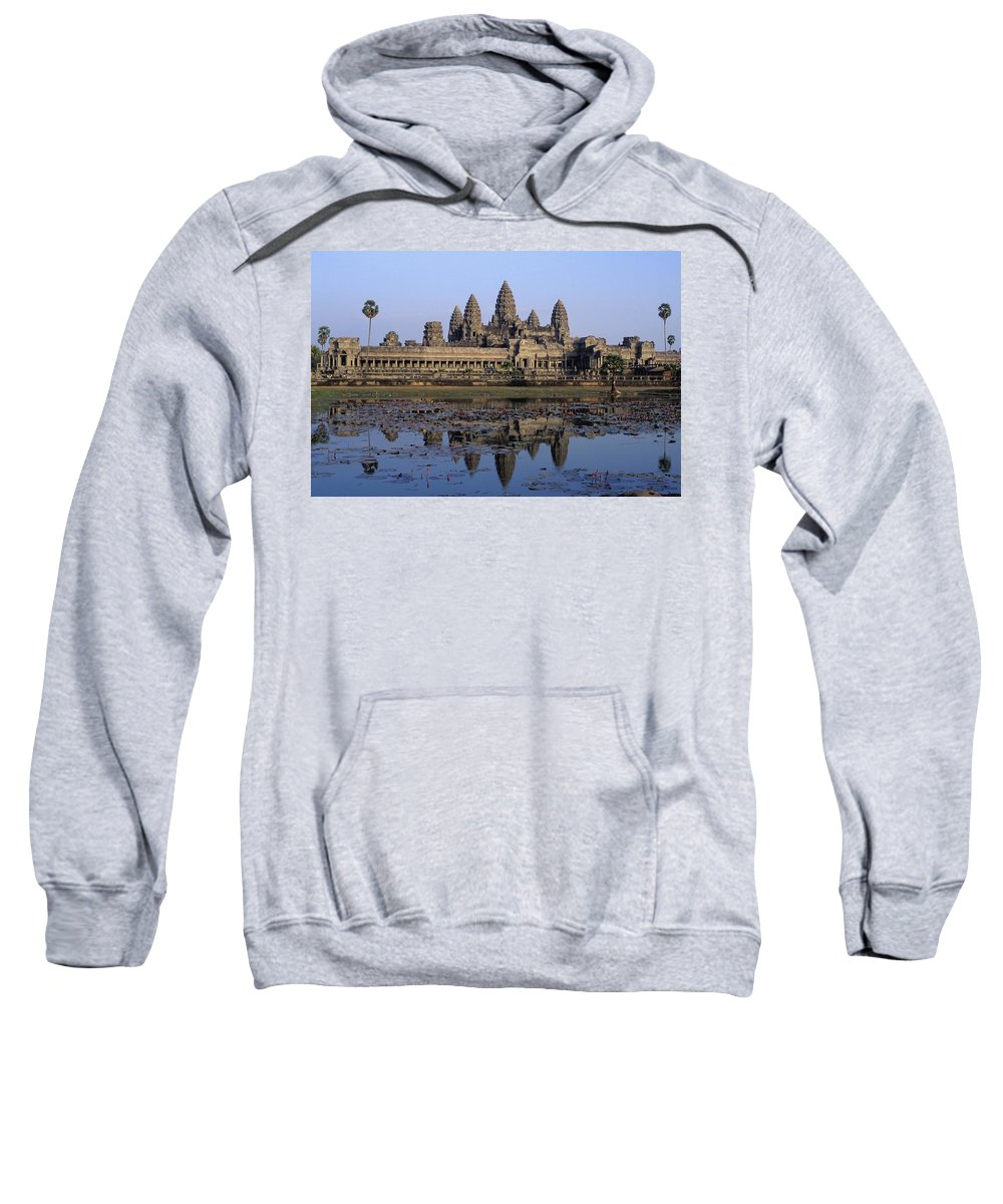 Wat Sweatshirt featuring the photograph Towers Of Angkor Wat And Lake by Axiom Photographic