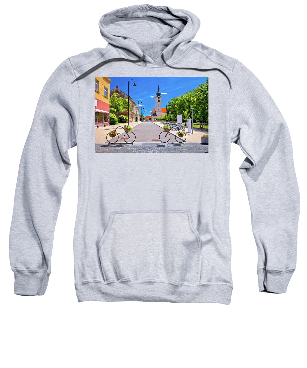 Bicycle Sweatshirt featuring the photograph Town Of Bicycles Koprivnica Street View by Brch Photography